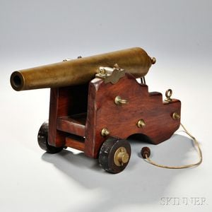 Brass Signal, or Yacht Cannon, with Carriage