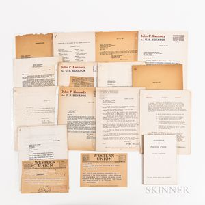 Approximately Seventy Letters, Documents, Invoices, and Receipts Related to the Organization and Activities of John F. Kennedys 1952 S