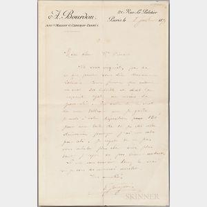 Gauguin, Paul (1848-1903) Autograph Letter Signed, Paris, 8 July 1879.