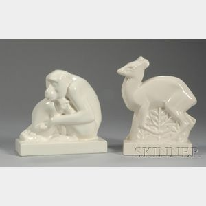 Wedgwood John Skeaping Designed Cream Glazed Deer and Seated Monkey Figures