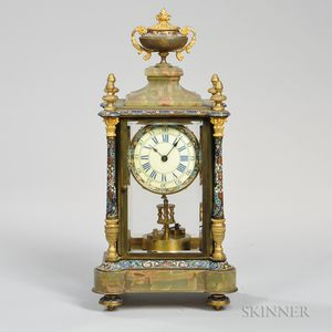 French Champleve and Variegated Marble 400-day Mantel Clock