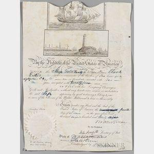 Van Buren, Martin (1782-1862) Signed Ship's Passport, 1839.