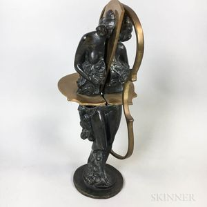 Modern Bronze Bisected Musician Figure
