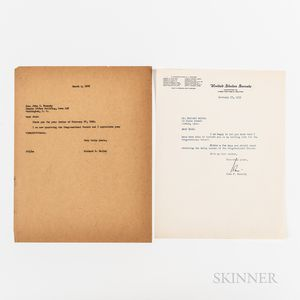 Kennedy, John F. (1917-1963) Typed Letter Signed to Richard Kelley, 27 February 1953.