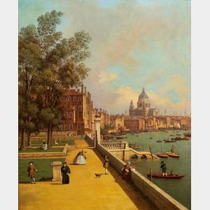 After Giovanni Antonio Canale, called Il Caneletto (Italian, 1697-1768)    The Thames from the Terrace of Somerset House