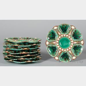 Eight Minton Majolica Oyster Plates