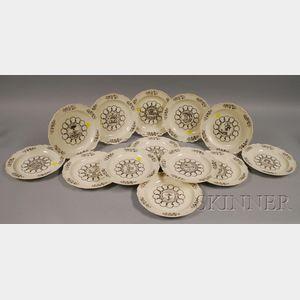 Thirteen Wedgwood Colonial Williamsburg Foundation States Ceramic Plates.