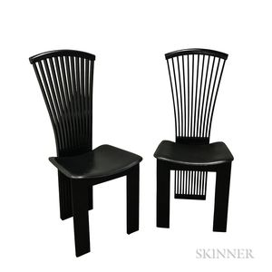 Two Pietro Costantini Mackintosh-influenced Black Lacquered Chairs