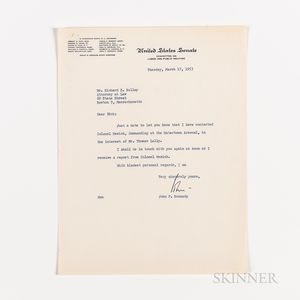 Kennedy, John F. (1917-1963) Typed Letter Signed to Richard S. Kelley, 17 March 1953 and Associated Correspondence Regarding Employment