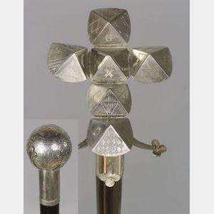 Articulated Masonic Ball Walking Stick