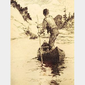 Frank Weston Benson (American, 1862-1951)    Canoeman