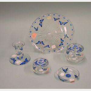 British Stuart Hand-painted Glass Dresser Set