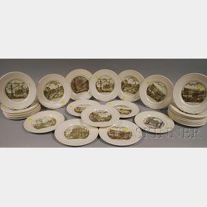 Thirty-one Wedgwood Piranesi Pattern Ceramic Dinner Plates.