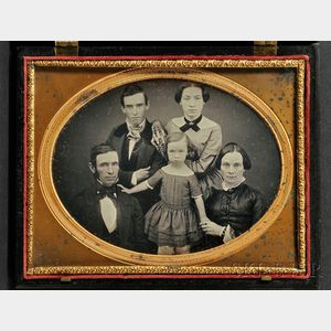 Half Plate Daguerreotype Three Generation Family Portrait