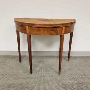 Federal-style Inlaid Mahogany Demilune Card Table