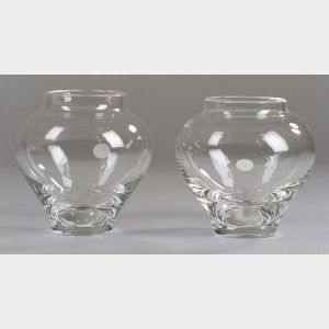 Two Steuben Clear Glass Vases