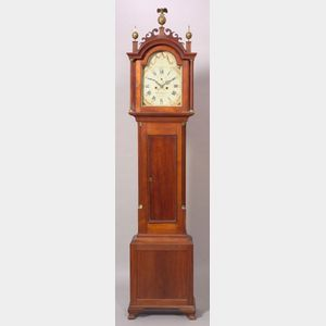 Federal Cherry Carved Tall Case Clock