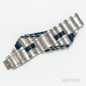 Art Deco Silver and Enamel Bracelet