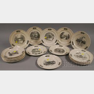 Twenty-one Wedgwood Cincinnati Views and Landmarks Ceramic Plates.