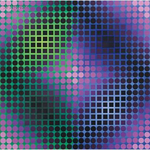 Victor Vasarely (French/Hungarian, 1906-1997)      Composition in Blue, Green, and Purple