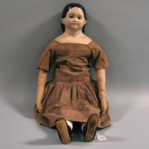 Large Early Glass-eyed Papier-mache Doll