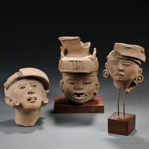 Three Pre-Columbian Pottery Head Fragments