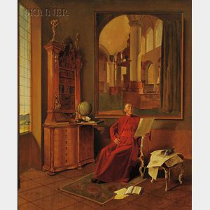 Franz Xaver Wolf (Austrian, 1896-1990)      Portrait of a Cardinal in His Study