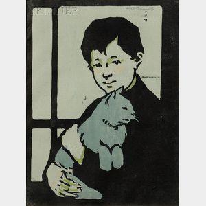 Eliza Draper Gardiner (American, 1871-1955)      Boy with Cat