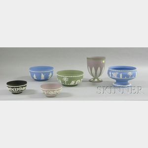 Six Assorted Modern Wedgwood Solid Jasper Items