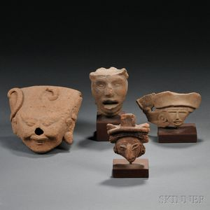 Four Mexican Pre-Columbian Pottery Head Fragments