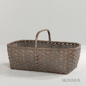 Large Gray-painted Handled Splint Basket