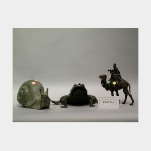 Bronze and Metal Snail, Frog, Elephant and Two Camels.