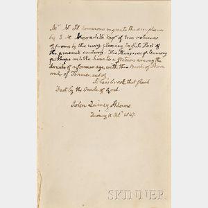 (Adams, John Quincy, 1767-1848),  Presentation Copy