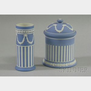 Wedgwood Light Blue Jasper Dip Spill Vase and Jar with Cover