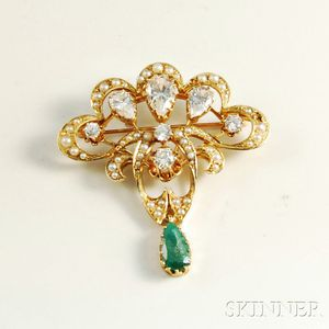 Art Nouveau 14kt Gold, Seed Pearl, and Gemstone Brooch