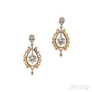 Gold and Diamond Earpendants
