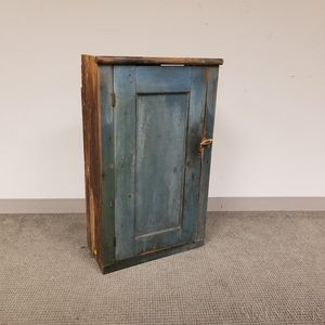 Blue-painted Pine Hanging Cupboard