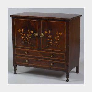 Federal Miniature Mahogany Inlaid Cabinet