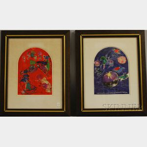 After Marc Chagall (French/Russian, 1887-1985) Lot of Two Images from TWELVE MAQUETTES FOR STAINED GLASS WINDOWS FOR JERUSALEM: The ...