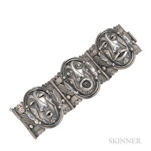 Silver Mask Bracelet