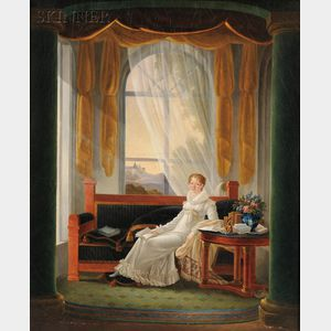 French School, Early 19th Century      Neoclassical Interior with a Seated Young Woman