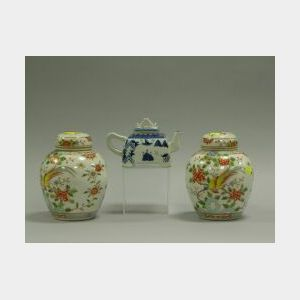 Chinese Export Porcelain Teapot and a Pair of Jars.