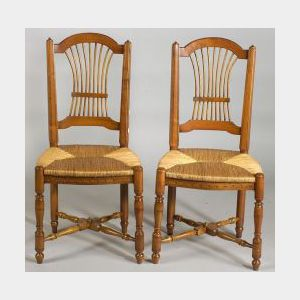 """Set of Six  French Provincial """"Wheat"""" Pattern Cherrywood Side Chairs"""