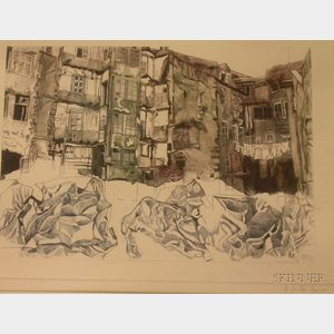 Framed Etching of a City View