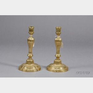 Pair of French Brass Louis XVI Style Candlesticks