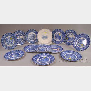 Twelve Wedgwood Blue and White University of Iowa Ceramic Plates and Two Illinois College Ceramic Plates.