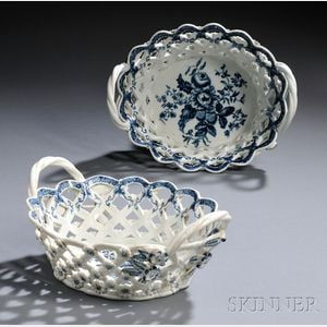Pair of Dr. Wall Period Worcester Porcelain Blue and White Baskets