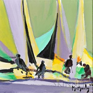 Marcel Mouly (French, 1918-2008)      Yachtmen aux Voiles Jaunes