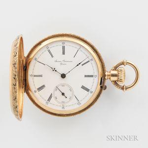 James Courvoisier 18kt Gold and Enameled Hunter Case Watch