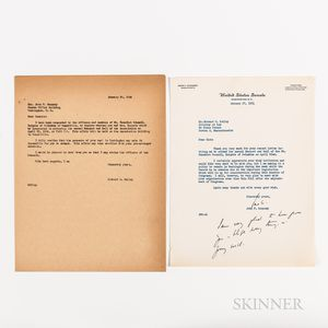 Kennedy, John F. (1917-1963) Typed Letter Signed to Richard S. Kelley, 27 January 1954.